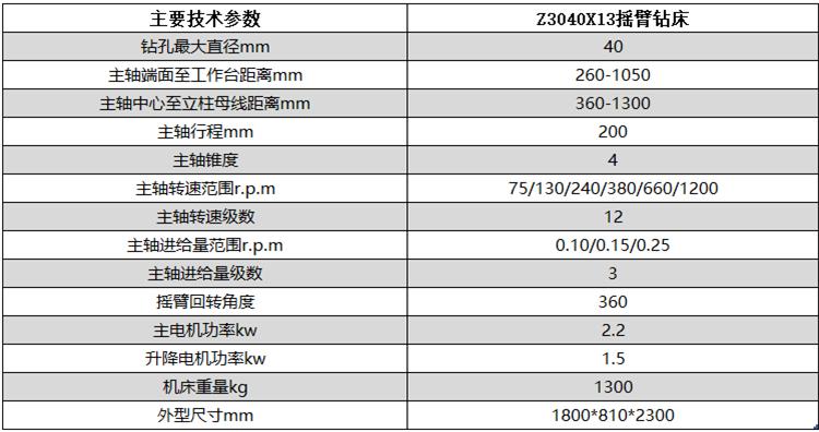 Z3040x13半液压摇臂钻床技术参数